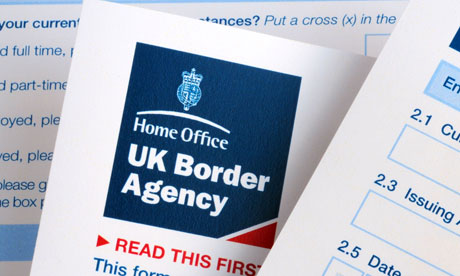 United Kingdom Border Agency visa application form. Image shot 2009. Exact date unknown.
